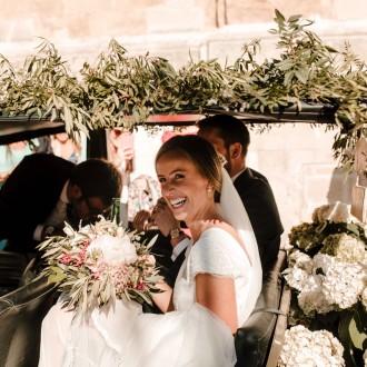 Decoración floral y el ramo de la novia
