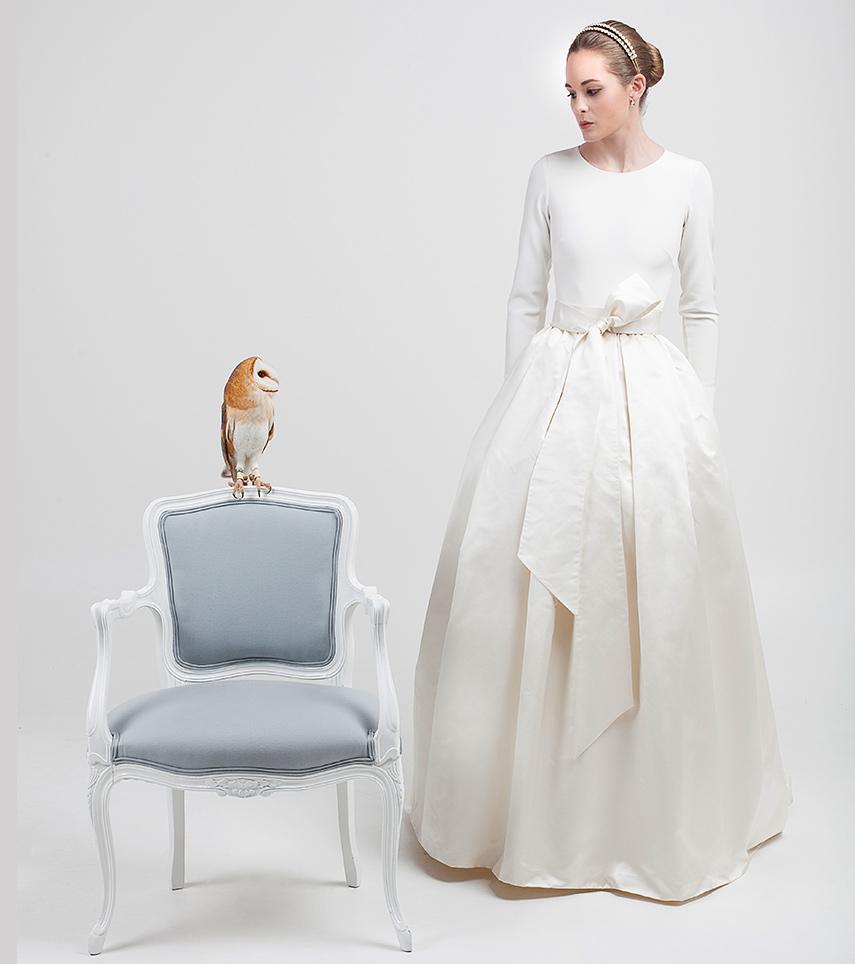 Vestido novia manga larga Annick