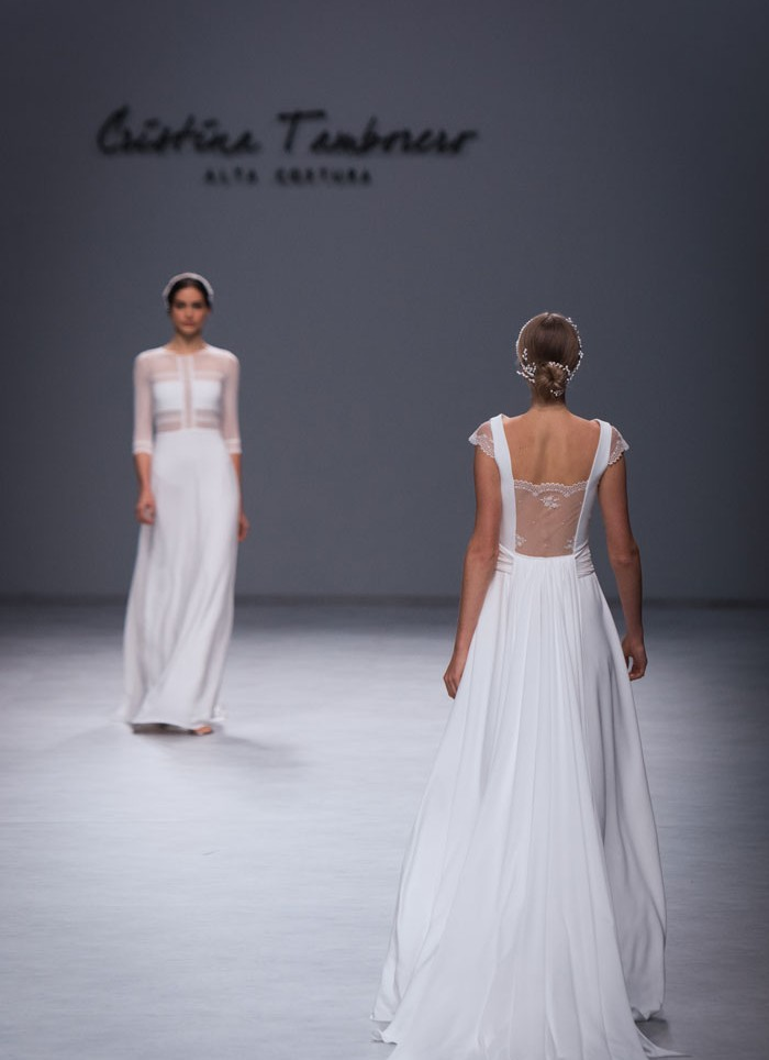 Wedding dress crep lace Cristina Tamborero