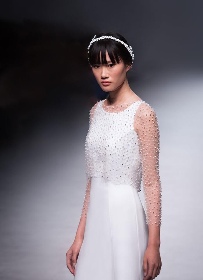 Vestido de novia pedreria crep Cristina Tamborero